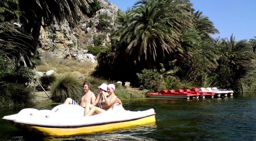 Preveli-pedal-boats-and-palm-trees